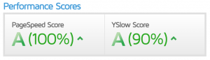 Performance Score for the sunnycopy website by GT Metrix. Pagespeed Score 100%. YSlow Score = 90%